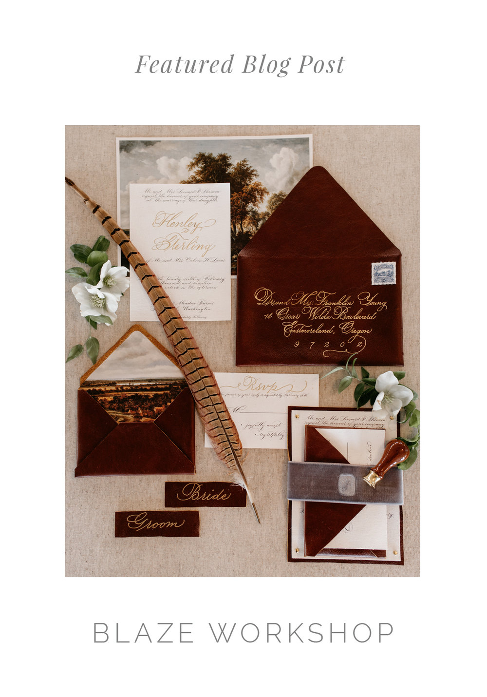 RalphLaurenInspiredLeatherWeddingInvitation