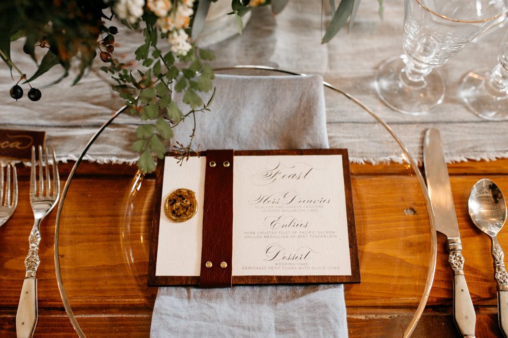 WoodLeatherWeddingMenuCalligraphy