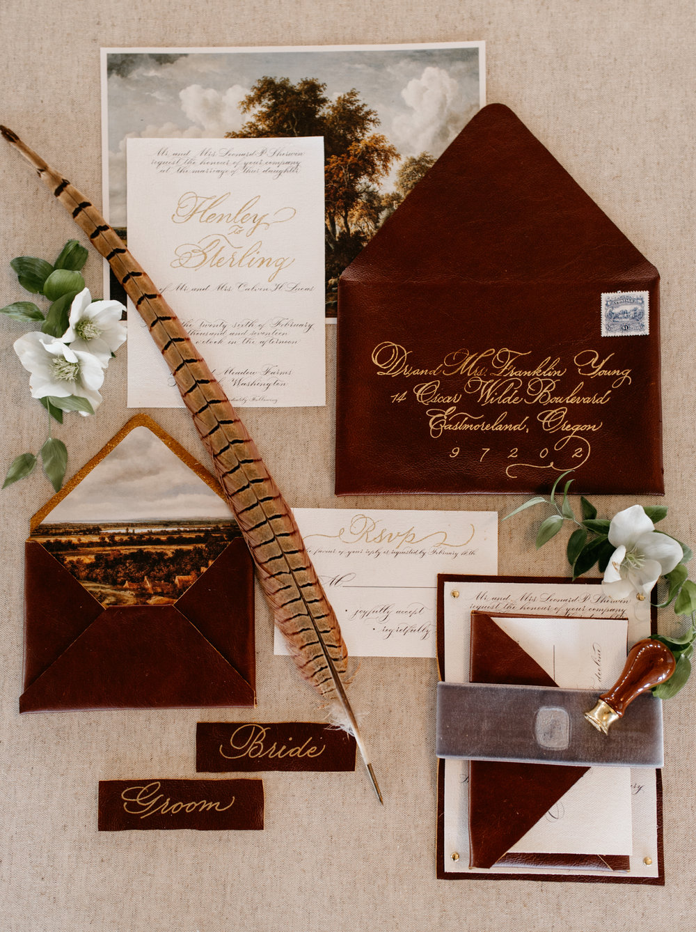 LeatherWeddingInvitationBespokeStrokesCalligraphy