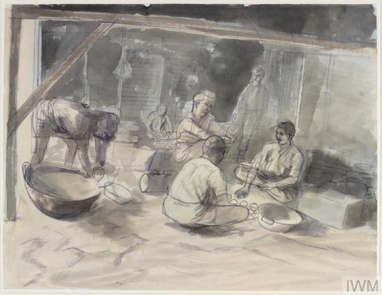 Edward Bawden,A Hindoo Kitchen: RIASC 8th, 10th and 12th Indian Mule Coys, Zghorta, Syria© IWM (Art.IWM ART LD 2220)