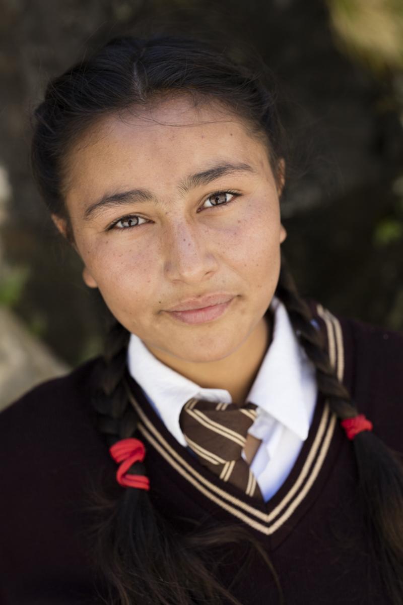 Ladakhi Girl Portrait. Eyes are in sharp focus.
