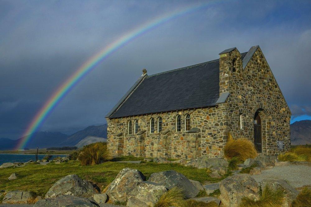 Rainbow at Lake Tekapo and the Church of the Good Shepherd