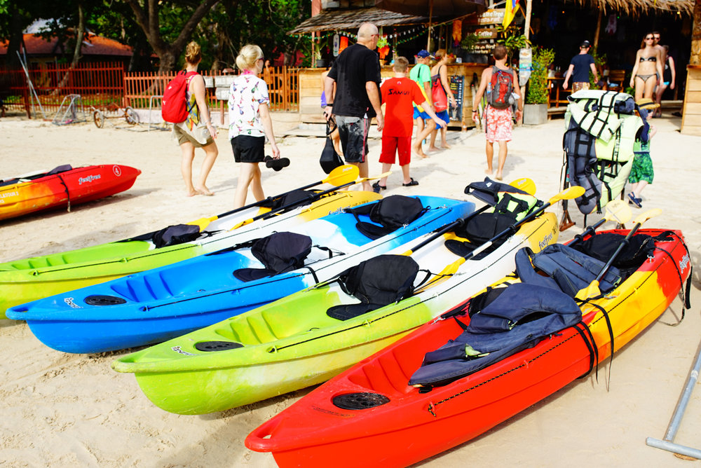 Colourful Kayaks lined up at Krabi