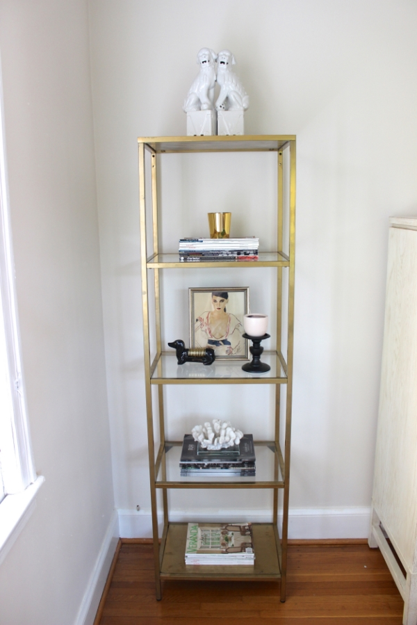Simple ikea hack to gold etagere diy blue door living - Etagere murale angle ikea ...