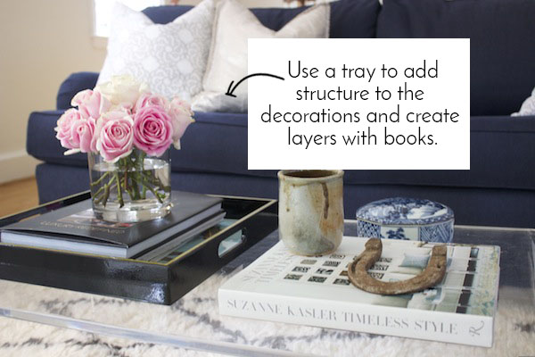 How To Style A Coffee Table how-to style a coffee table - blue door living