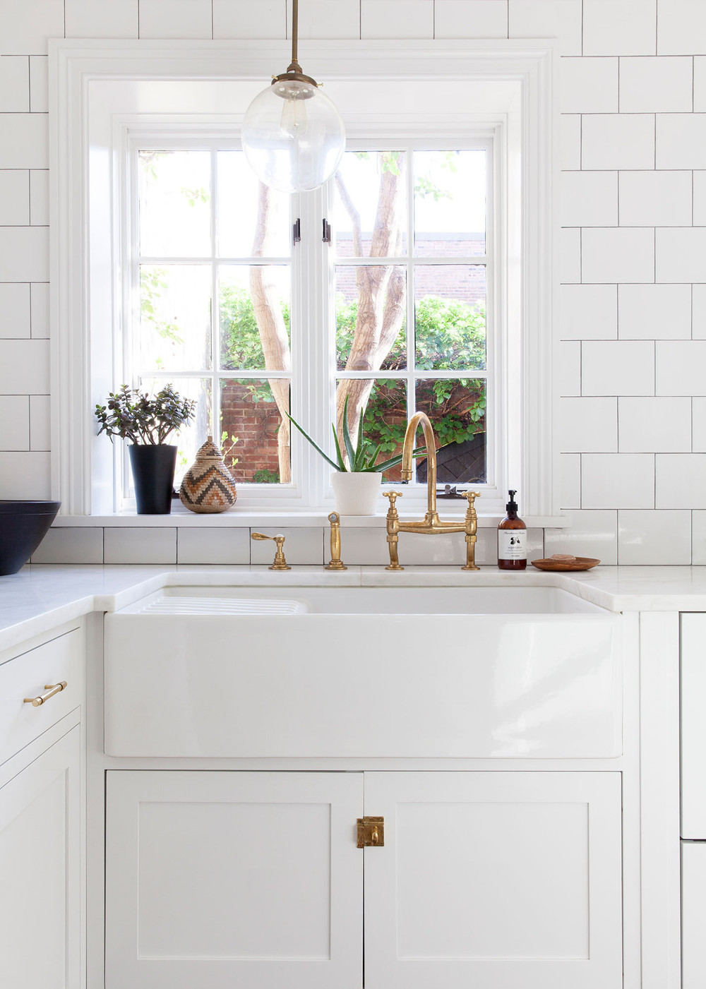 Kitchen Trend Brass Hardware Blue Door Living