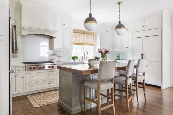 hicks pendant in white and traditional kitchen