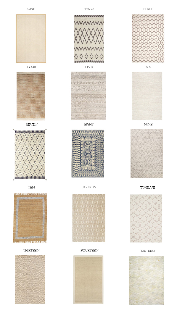 Fifteen neutral rugs options for a bright and airy room