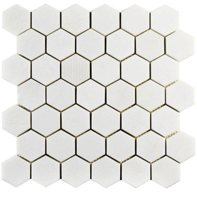 Metro Hex Glossy White 10-1/4 in. x 11-3/4 in. x 5 mm Porcelain Mosaic Floor and Wall Tile (8.54 sq. ft. / case)