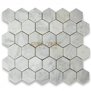 Carrara White 2 inch Hexagon Mosaic Tile Honed - Marble from Italy