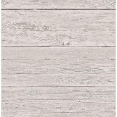 8 in. W x 10 in. H Grey White Washed Boards Shiplap Wallpaper Sample