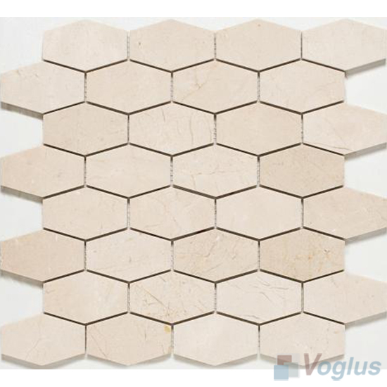 Cream Polished Long Hexagon Marble Mosaic VS-PHX89