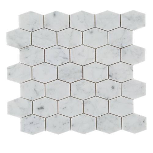 CARRARA LONG HEXAGON MARBLE MOSAIC TILE