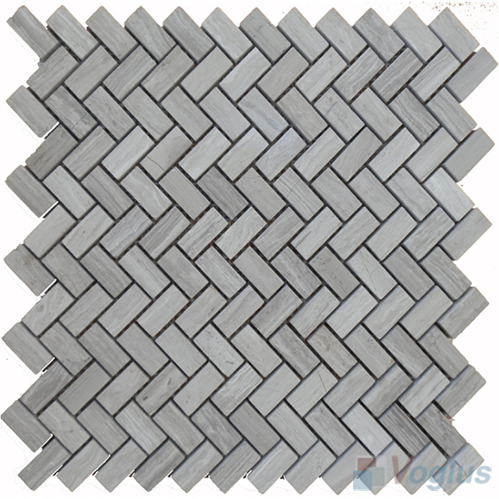 Wooden White Polished Small Herringbone Marble Mosaic