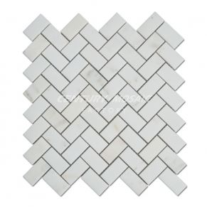 Wooden White Polished Herringbone Marble Mosaic