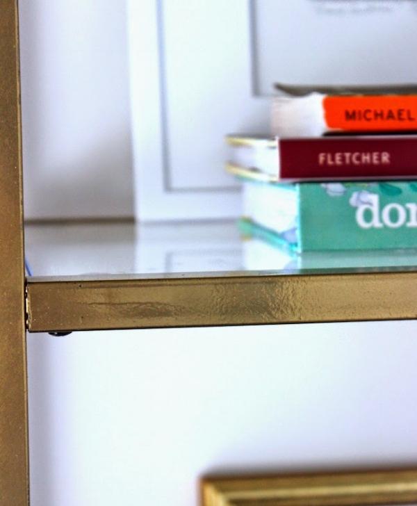 simple ikea hack to gold etagere diy blue door living. Black Bedroom Furniture Sets. Home Design Ideas