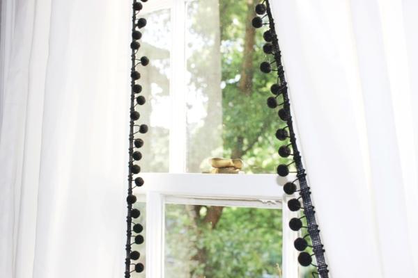 black and white pom pom curtains