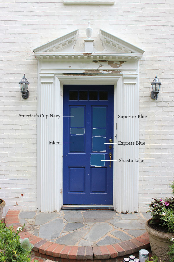 Next we added Gentleman\u0027s Gray Commodore Blue and Symphony Blue to the mix making sure to look at them in different light. Here are the colors up close on ... & 8 Paint Colors For A Blue Front Door \u2014 Blue Door Living