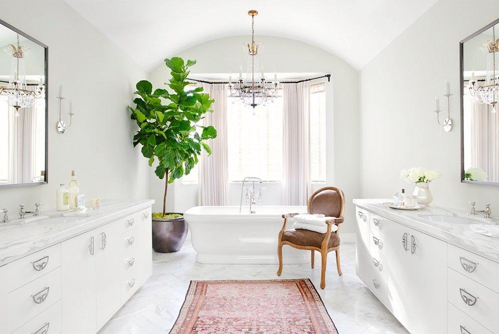 Master Bathroom With Fiddle Leaf Fig