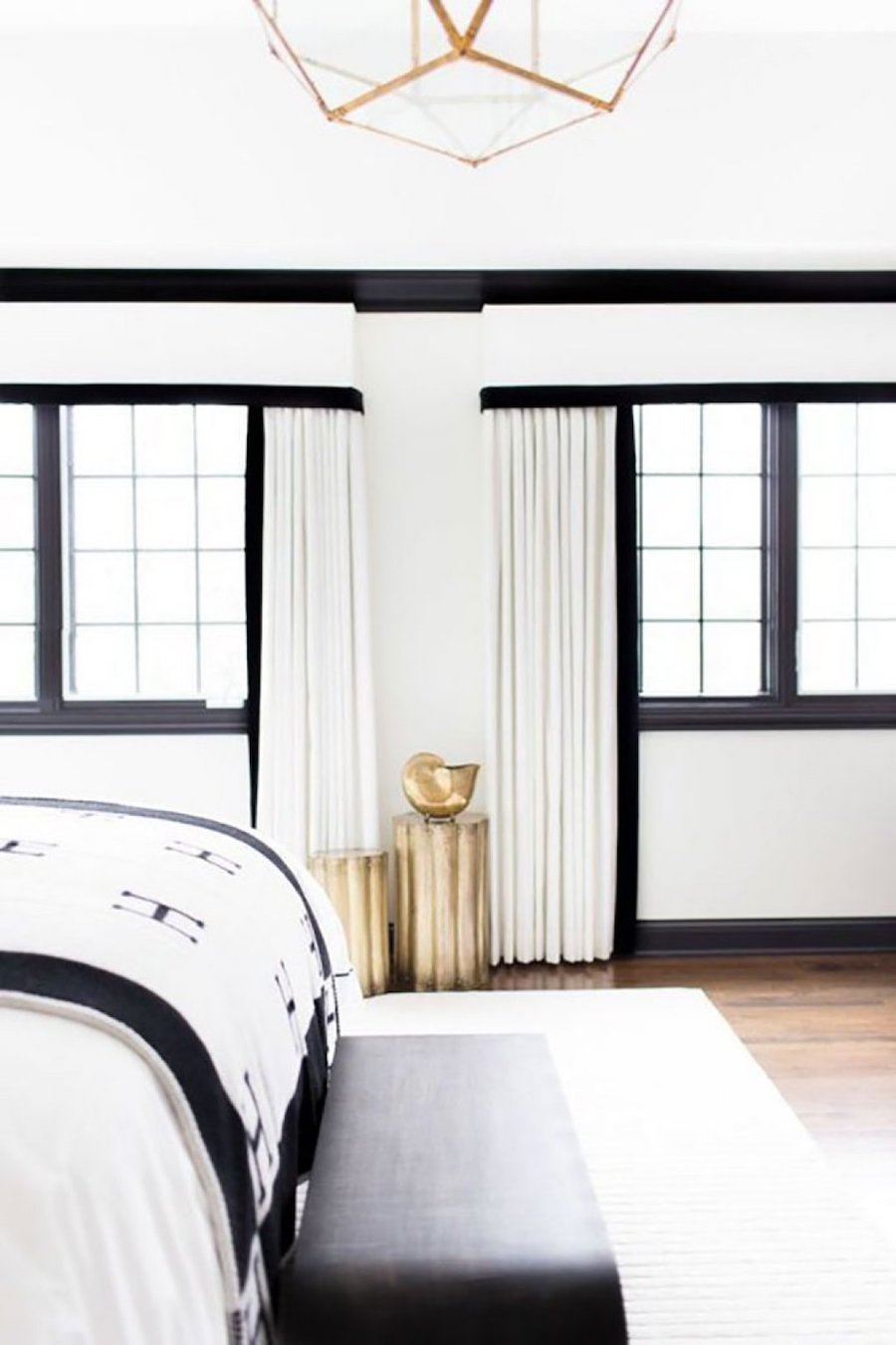 black trim in white room