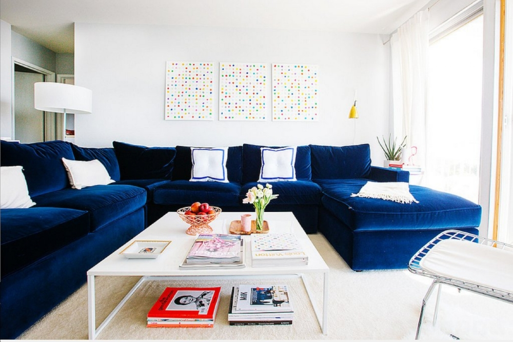Fabulous A Blue Sofa Pop Of Color Or Glamorous Statement Piece Ncnpc Chair Design For Home Ncnpcorg