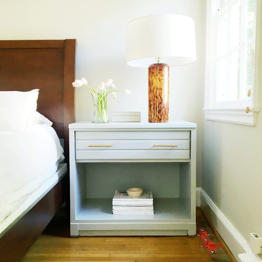 before & after project nightstand refurbishment.