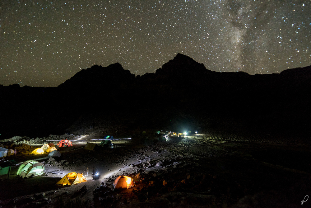 Camp at night - Mawenzi Tarn Hut