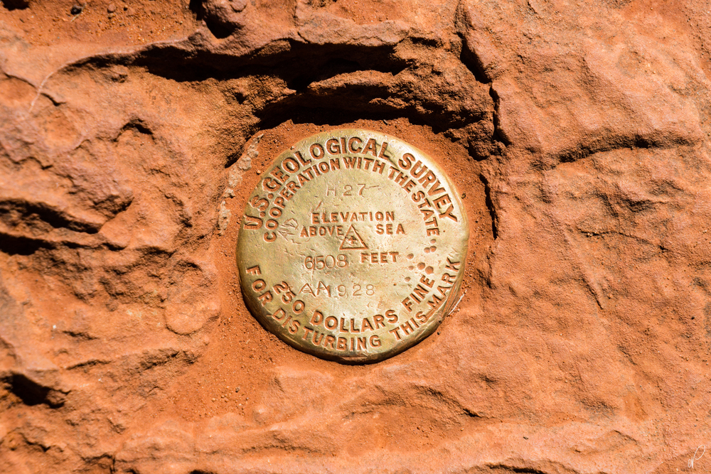 The USGS marker at Observation Point