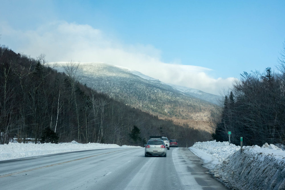 The drive to Pinkham's Notch. The summit of Mount Washington somewhere in the clouds.