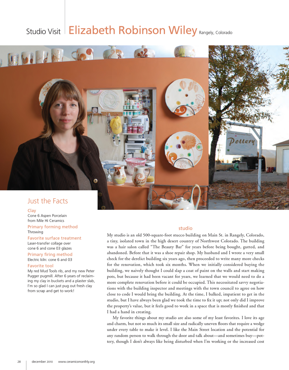 First page of the 'Studio Visit' article in  Ceramics Monthly,  2010.