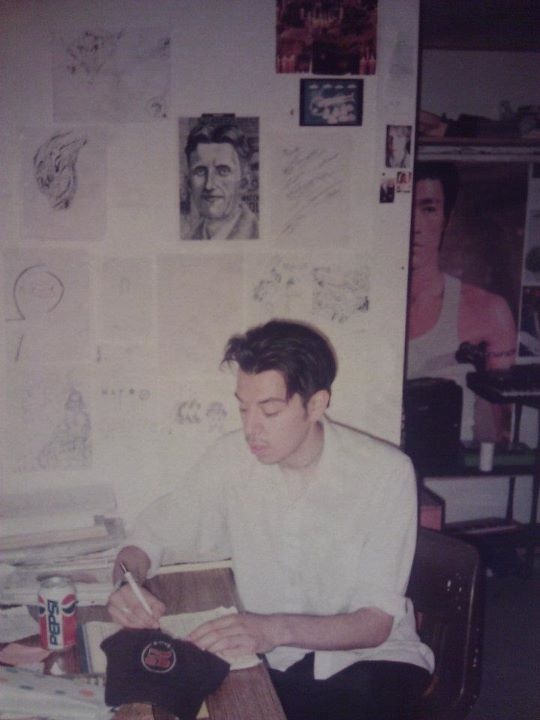 orwell on the wall, bruce lee, a keyboard, pepsi,.jpg