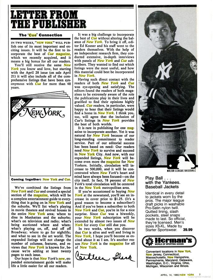 "April 14, 1980 Cathleen Black, Publisher of New York Magazine Letter From The Publisher ""The  CUE  Connection"""