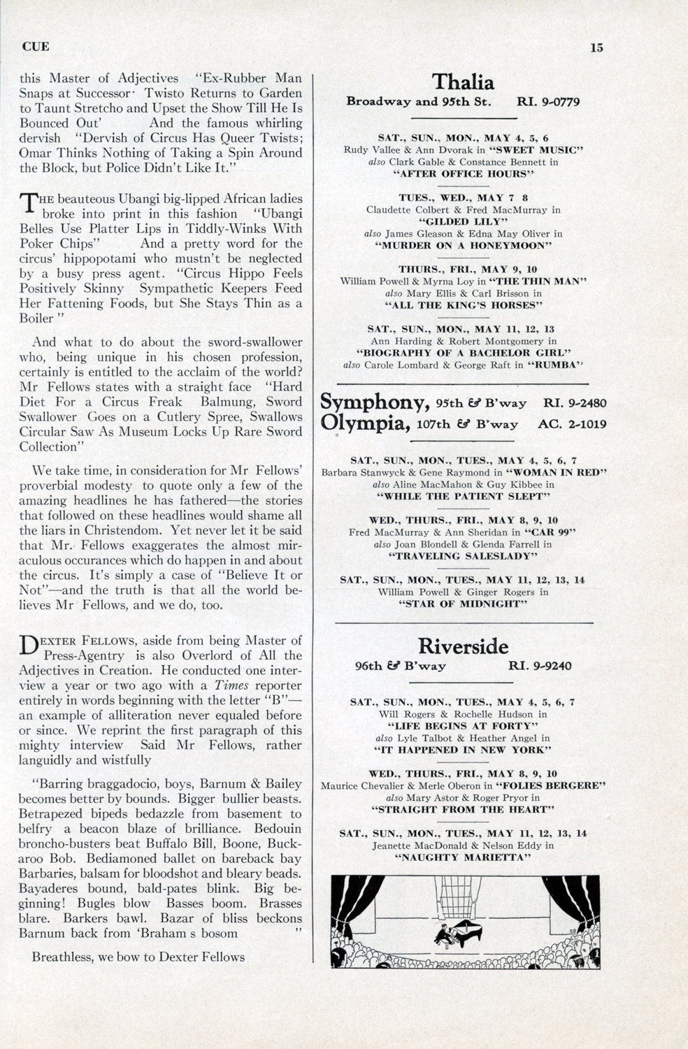 May 4,1935, Pg. 15 INSIDE  CUE : Movie Listings