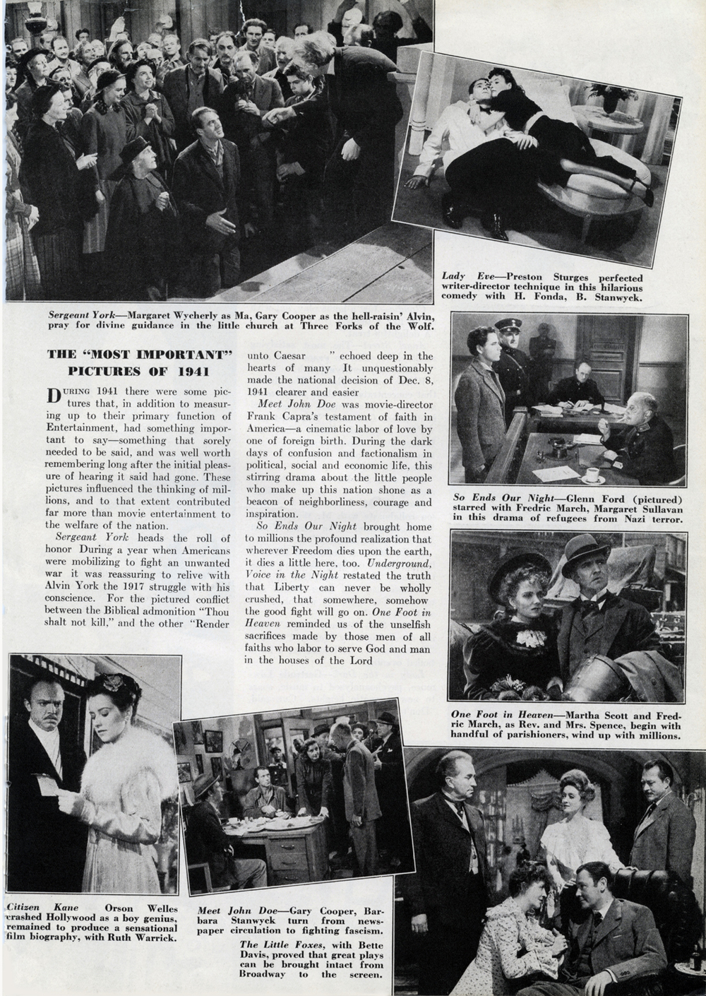 "December 1941 INSIDE  CUE : The ""Most Important"" Pictures of 1941"