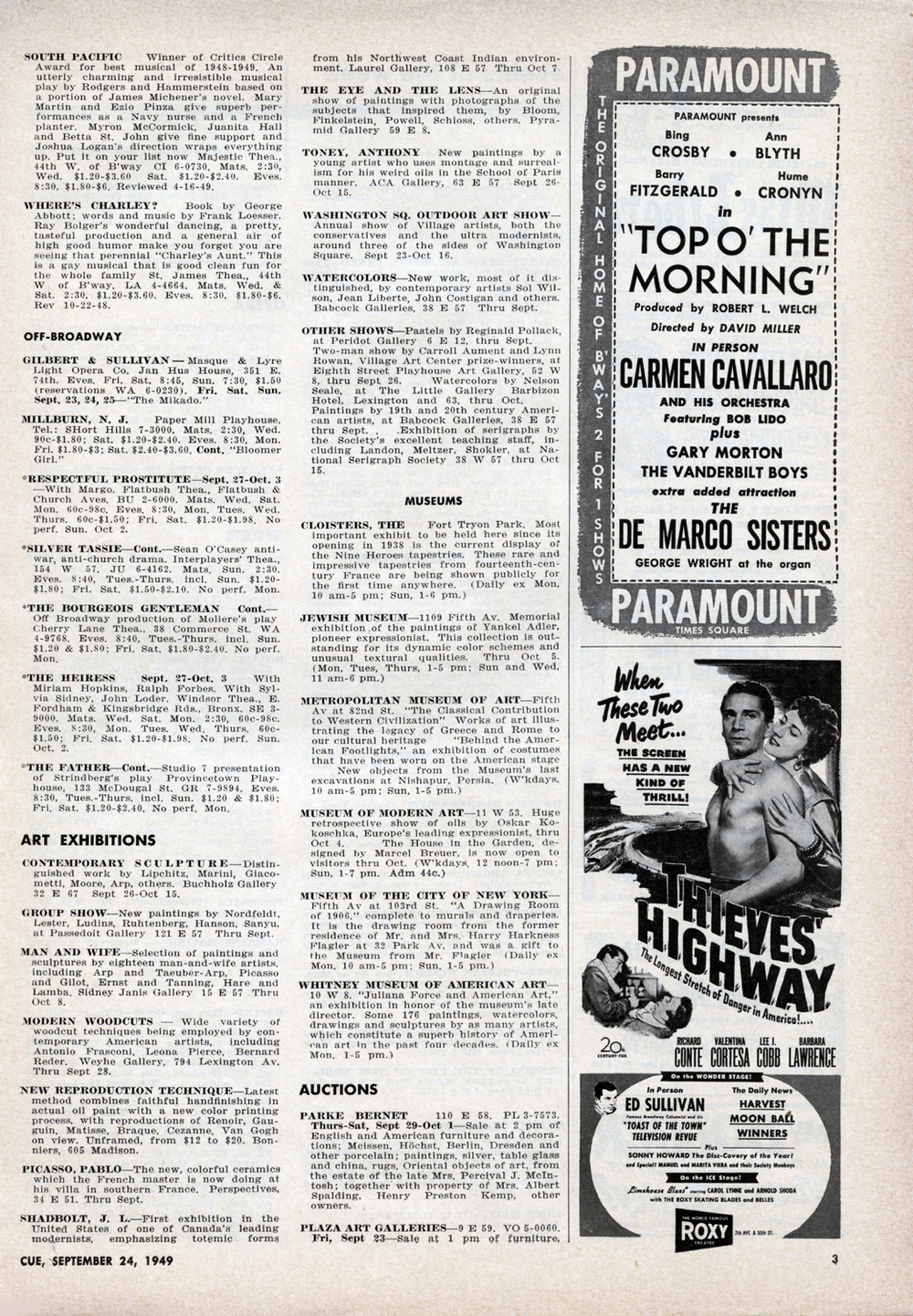 September 24, 1949 Pg. 3 INSIDE  CUE : Theatre, Movie Listings, Art Exhibitions, Museums, Auctions