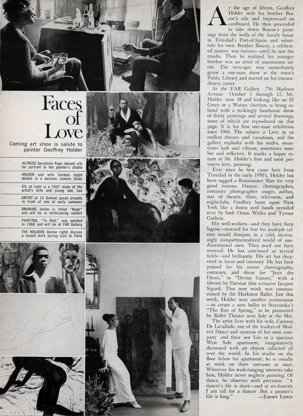 1968 INSIDE  CUE : Faces of Love A Salute to Painter GEOFFREY HOLDER