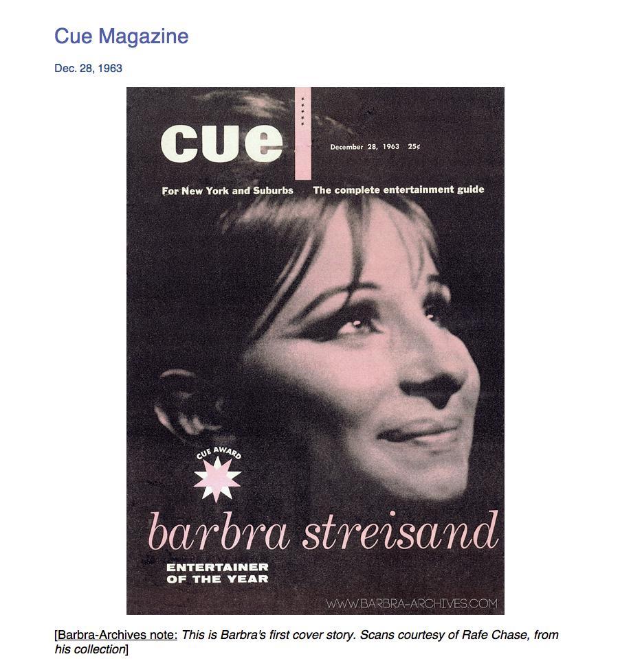 December 28, 1963  CUE Cover: Barbra Streisand