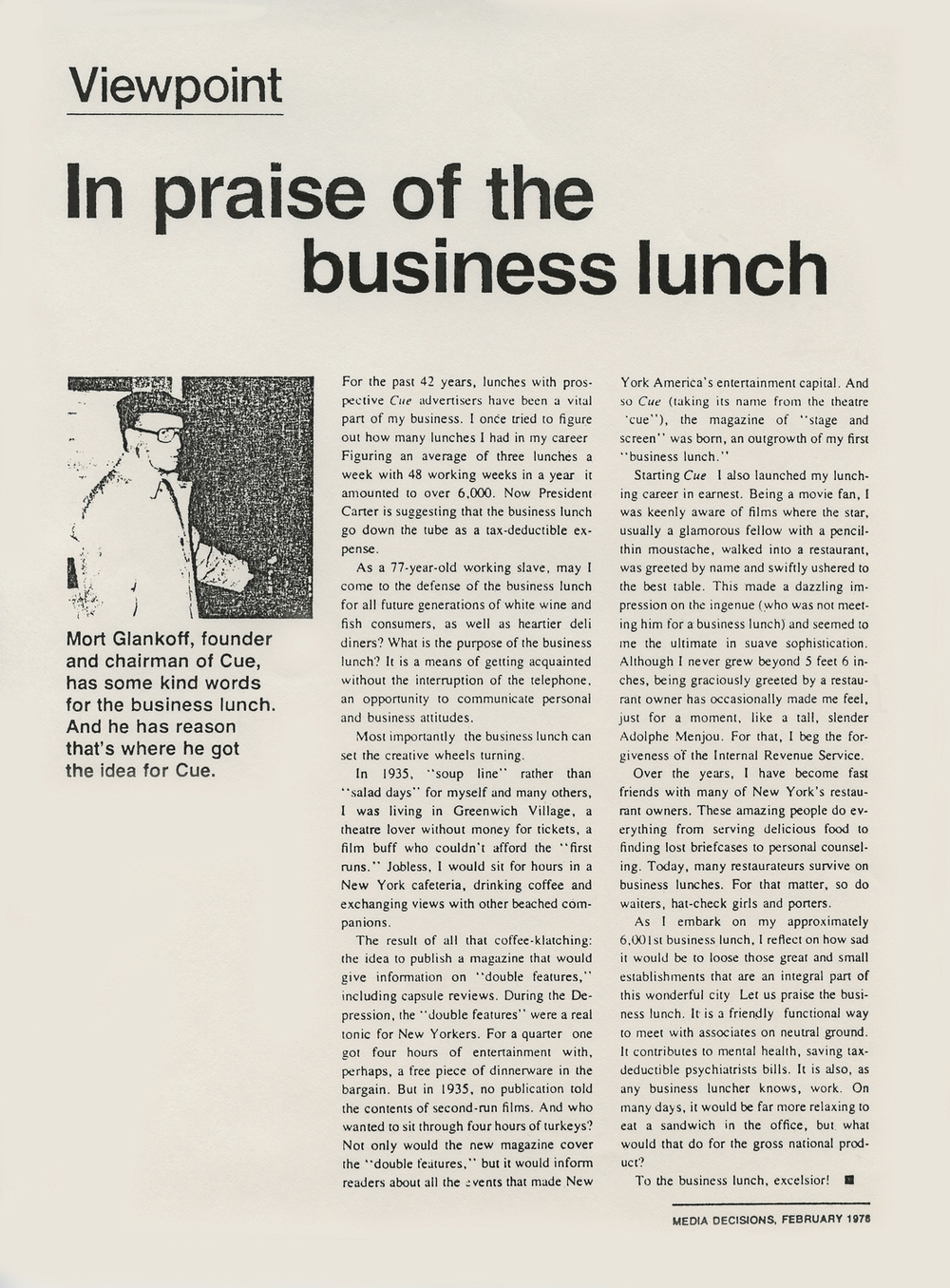 In Praise of the Business Lunch