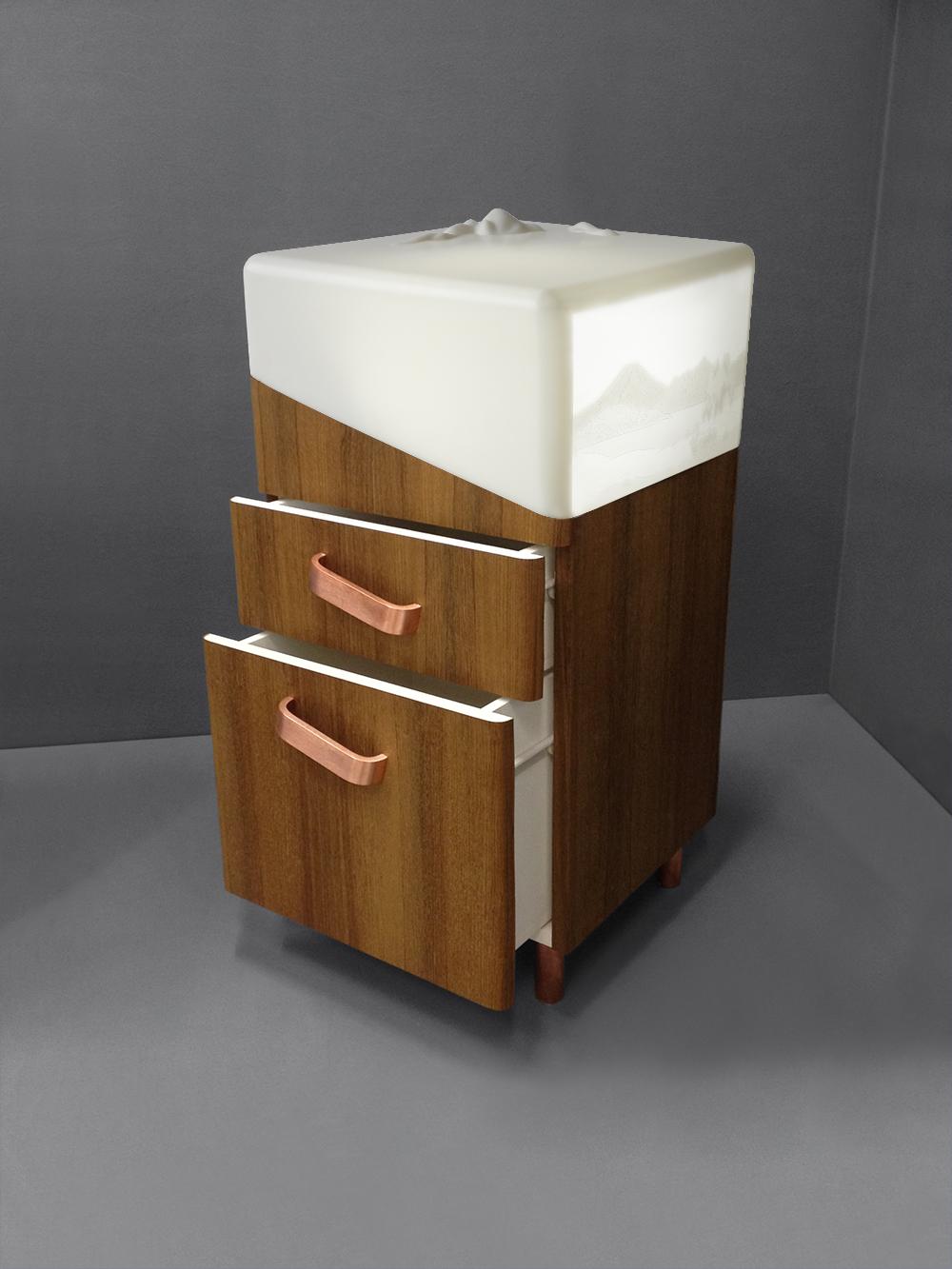 Jardin d'Hiver bedside cabinet drawers 3:4 open - Copyright 2015 Géraldine Biard.jpg