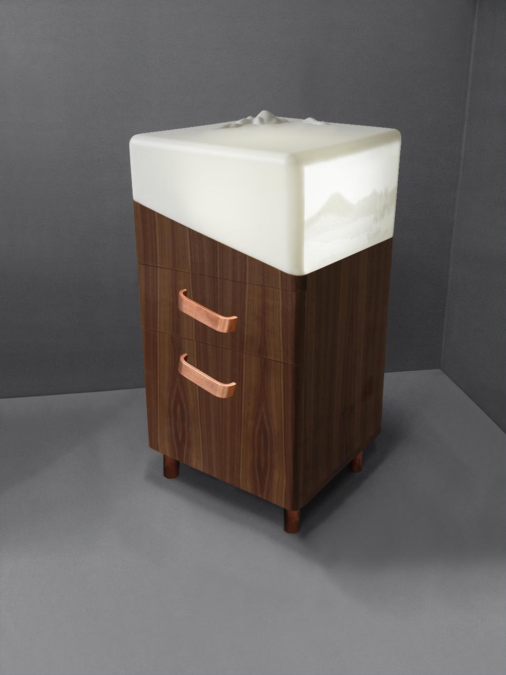 WALNUT Jardin d'Hiver bedside cabinet drawers 3-4- Copyright 2015 Géraldine Biard.jpg