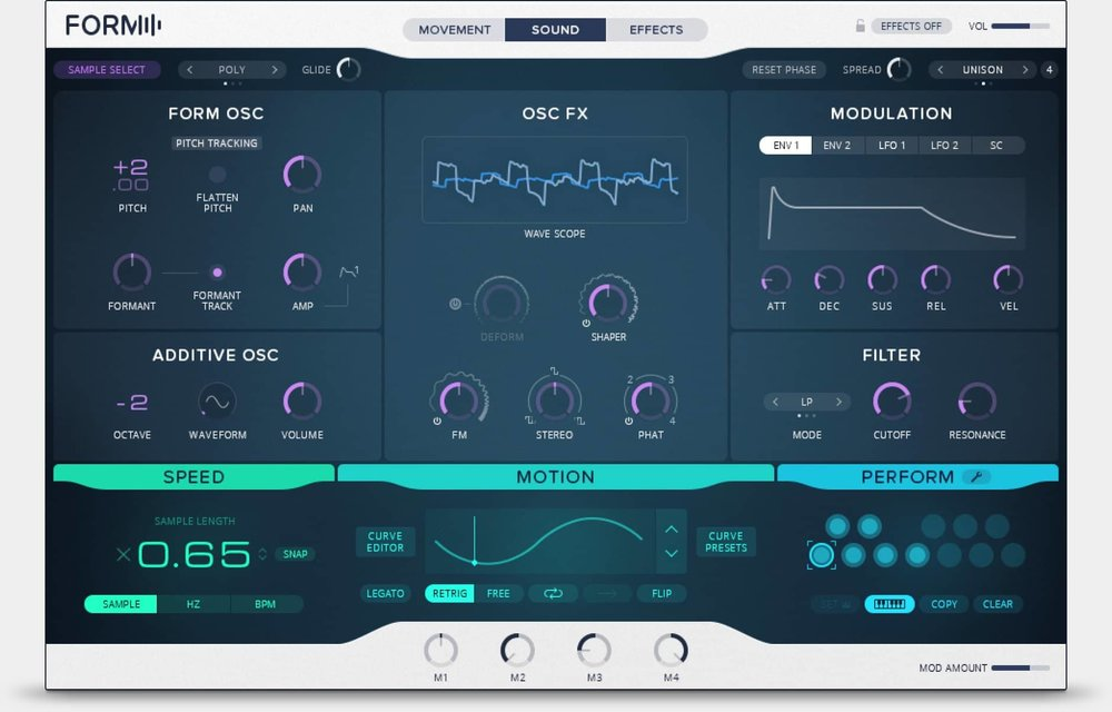 The GUI for Native Instruments FORM sample based synthesizer.