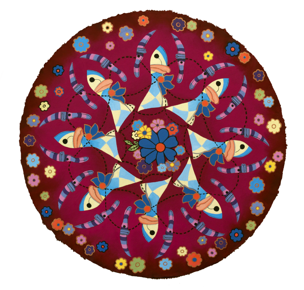 Duck Mandala, oil on gesso paper, 27 in. diameter (2013)