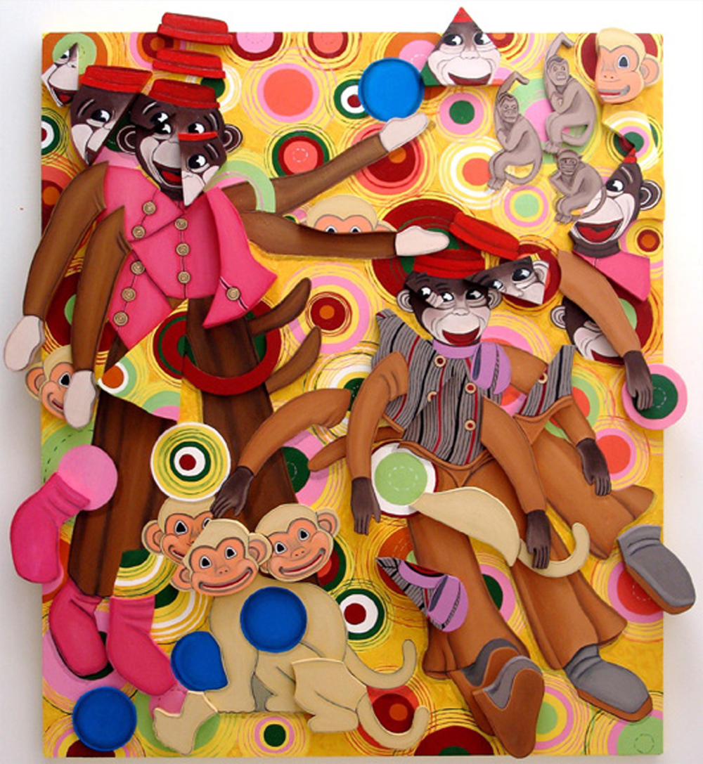 Monkey See/Monkey Do, oil on wood relief, 44 x 40 x 1 (2008)