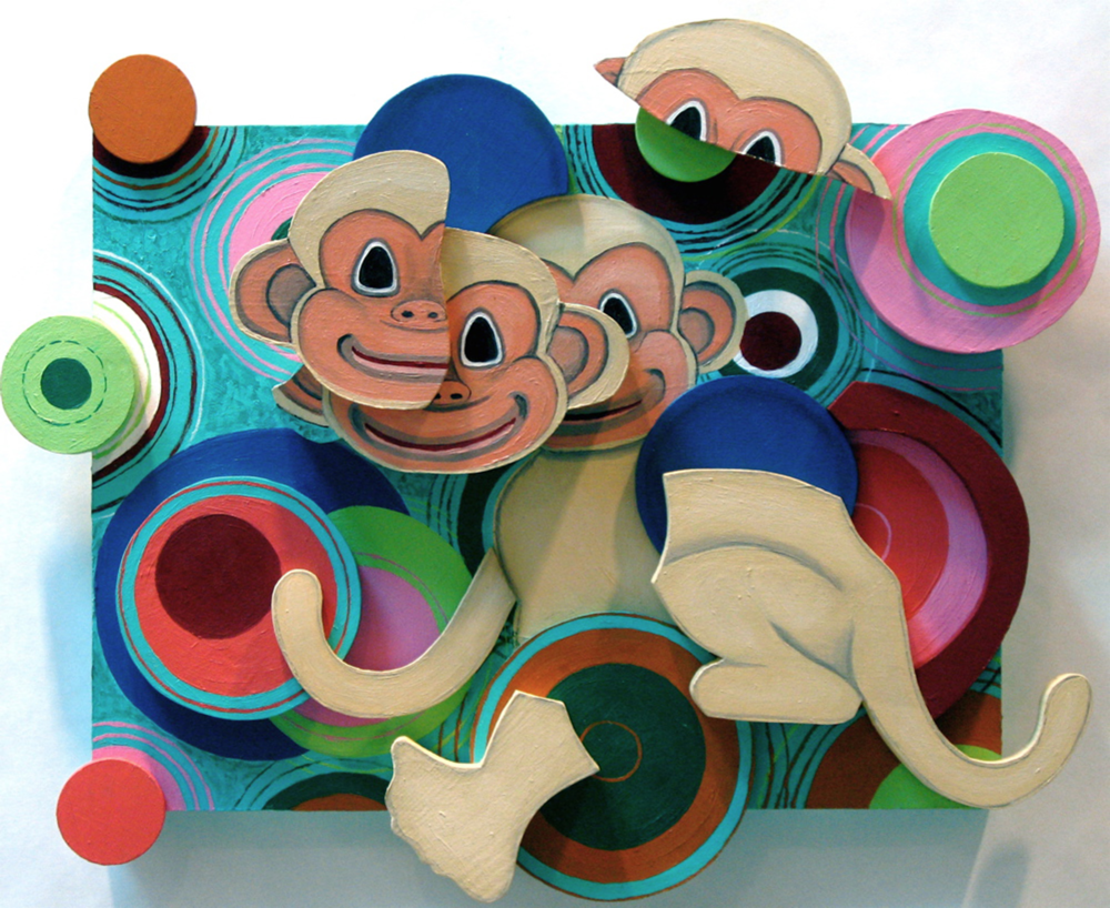 Small Monkey Excerpt, oil on wood relief, 15.5 x 18 x 1.5 (2008)