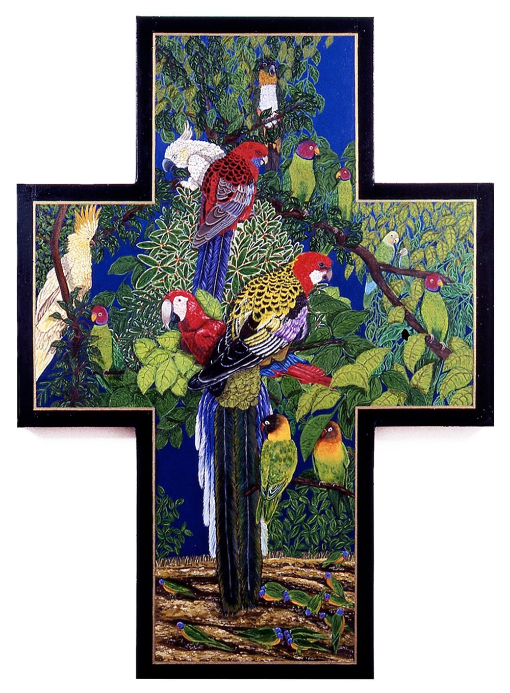 Endangered Birds, oil on shaped canvas, 44-1/2x32 (1995)