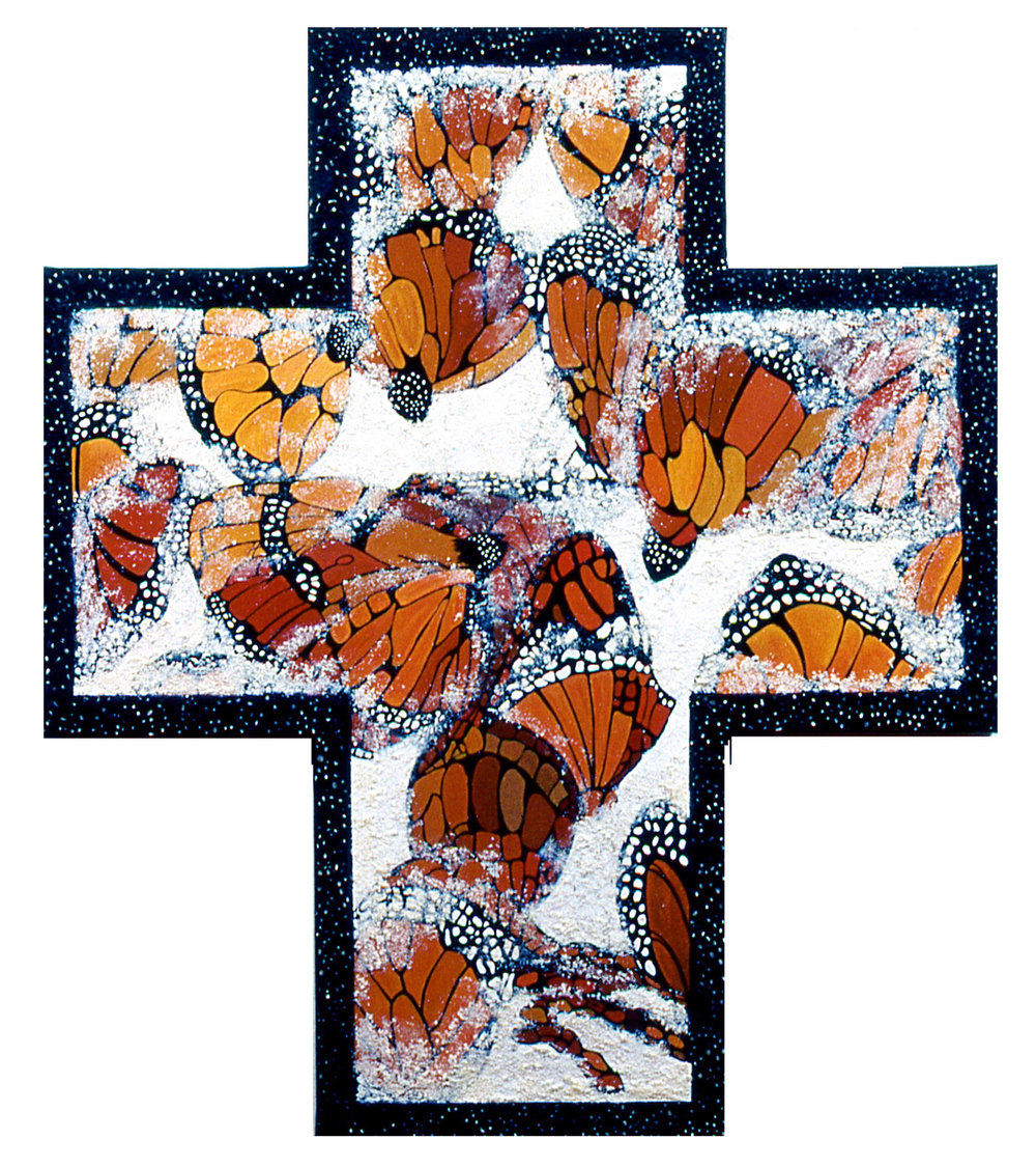 Endangered Monarchs, oil + mixed media on shaped canvas, 48x42 (1995)