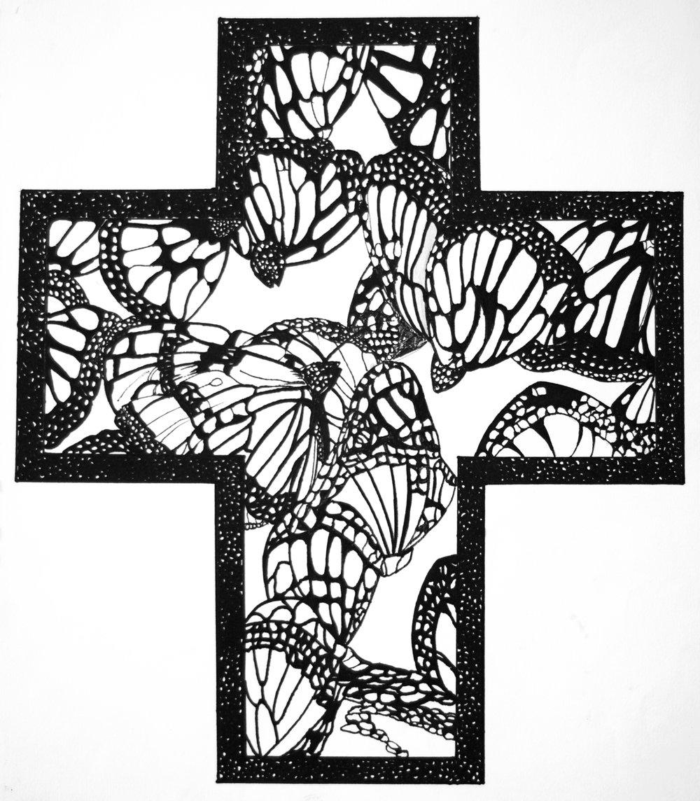 Endangered Monarchs, ink on paper, 16-1/2x14-1/2 (1995)