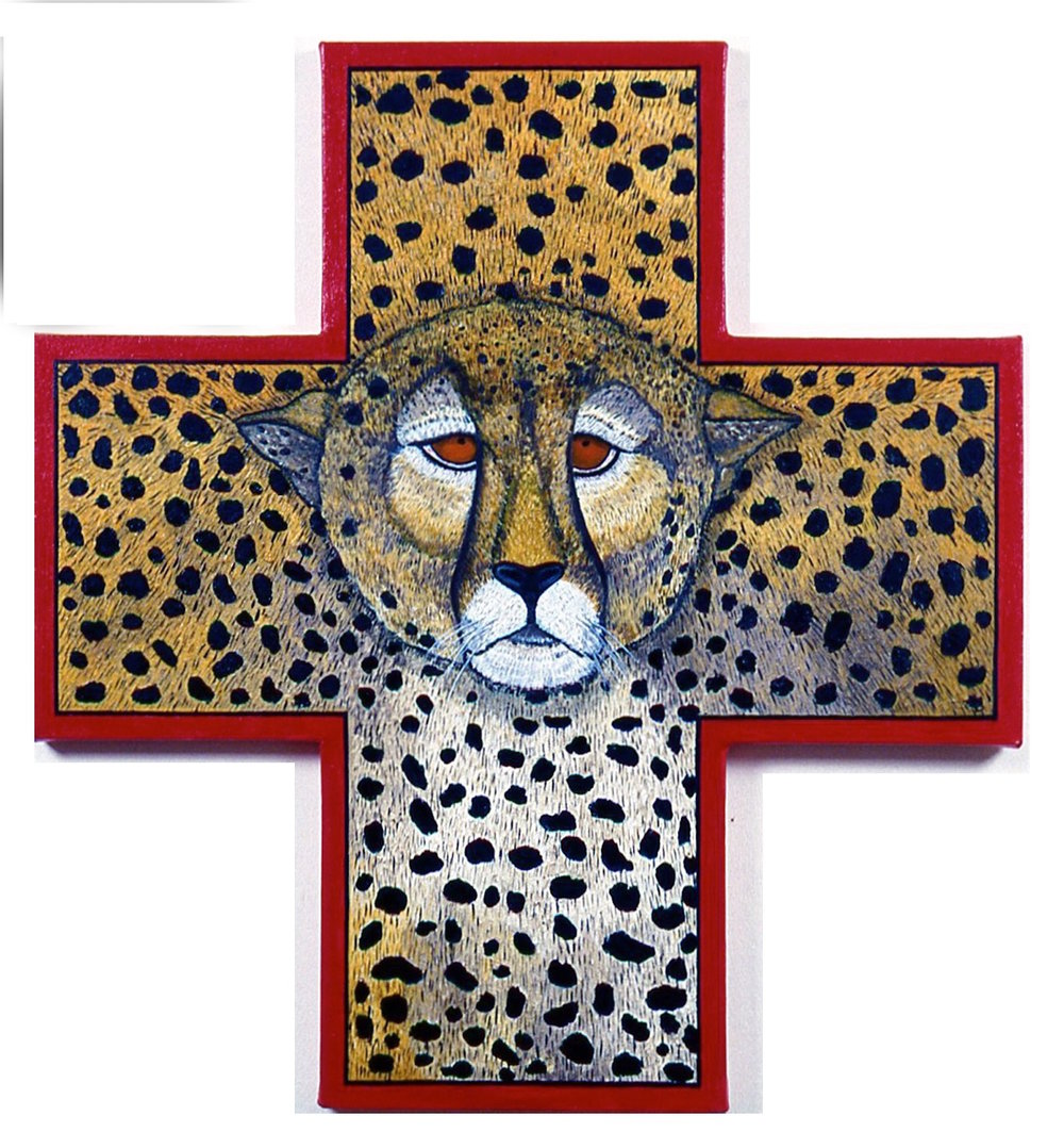 Endangered Cheetah, oil on shaped canvas, 29x27 (1995)