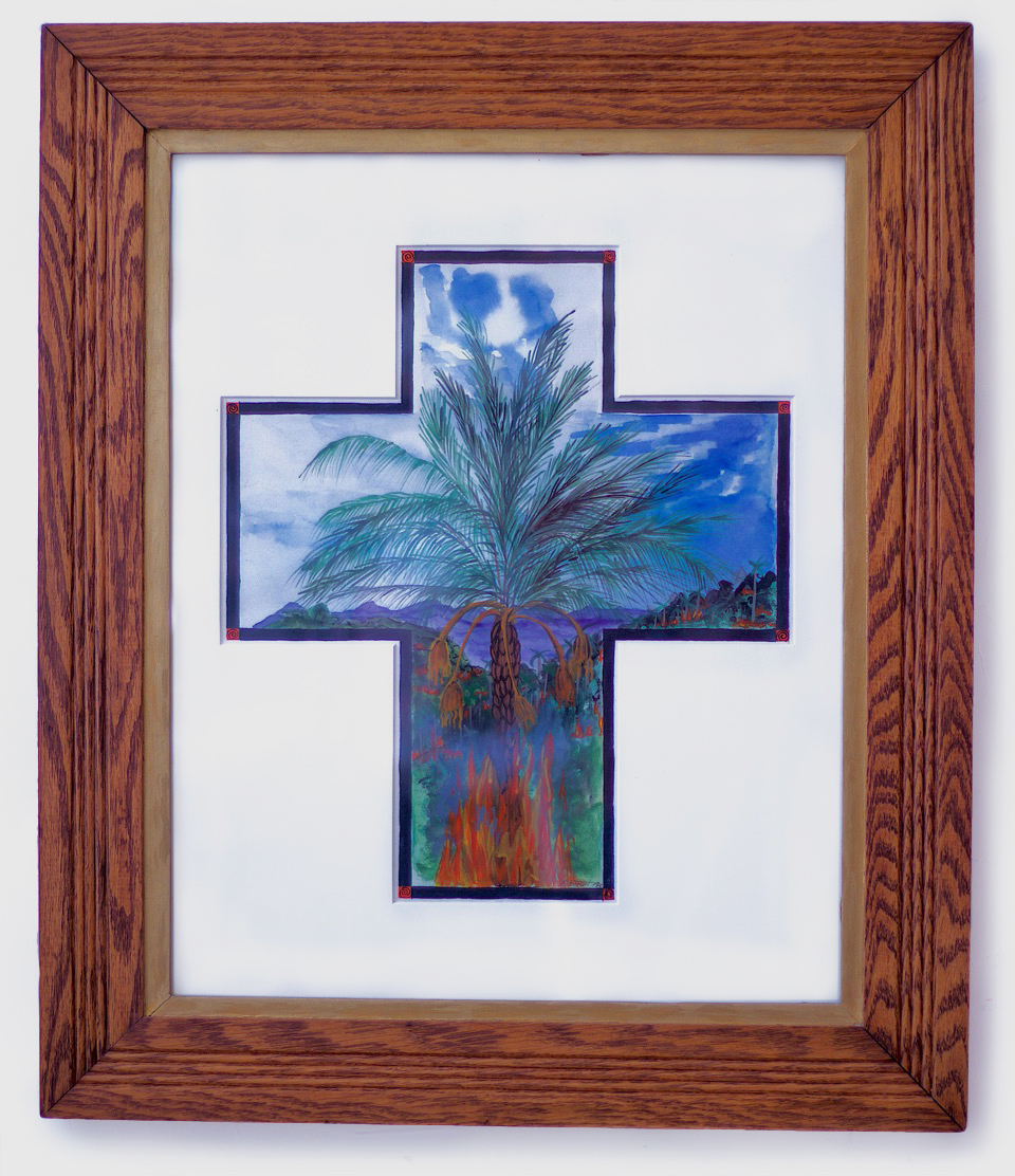 Burning the Rainforest, gouache & water color on paper, 25-1/x21-1/2, oak frame (1995)