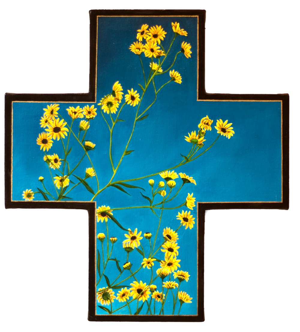 Endangered Puzzle Sunflowers, oil on shaped canvas, 22x20 (1995)